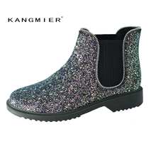 Фотография KANGMIER Chelsea Boots Women Shoes Classical Blue Ankle Glitter with Zipper Sewing for Autumn Winter