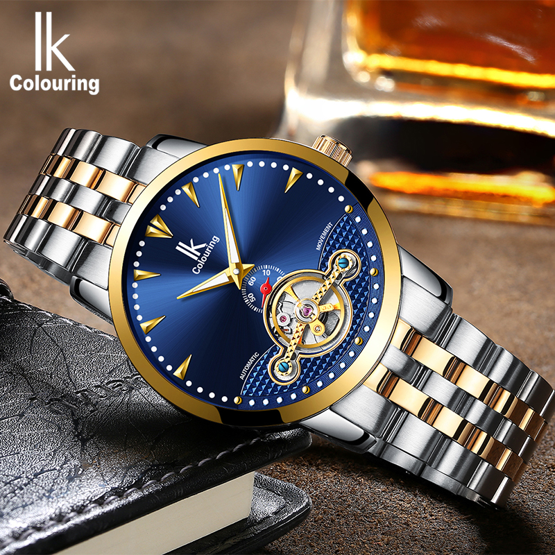 IK colouring Luxury Men's Mechanical Watches Self-Wind Automatic Watch Fashion Business Stainless Steel Strap bayan kol saati ik colouring mens watch automatic self wind mechanical watches for men watches luxury wristwatches stainless steel strap