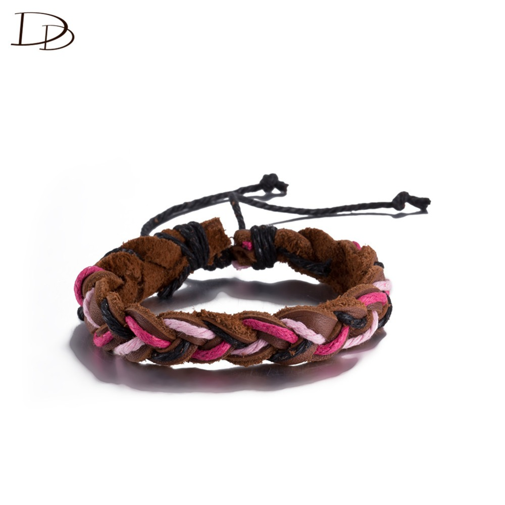wholesale three colors rope braided brown leather bracelet for women Bohemia style 30cm adjustable size pulseras fashion DFSH047