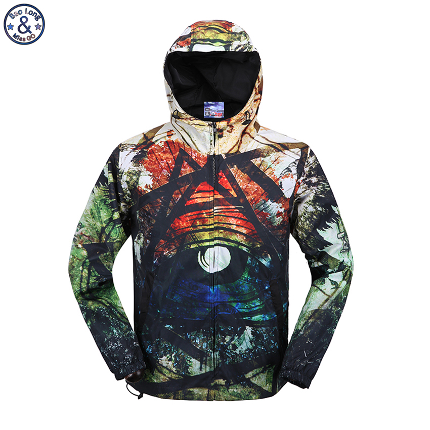 Mr.BaoLong brand new Spring Autumn Casual 3D printed Jacket Men Breathable Thin Windbreaker Hooded Coats F1