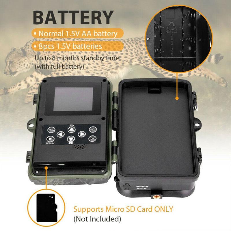 Caméra de chasse caméra de chasse 1080 p HD IR caméra de chasse Camping multifonctionnel Animal 16MP Portable