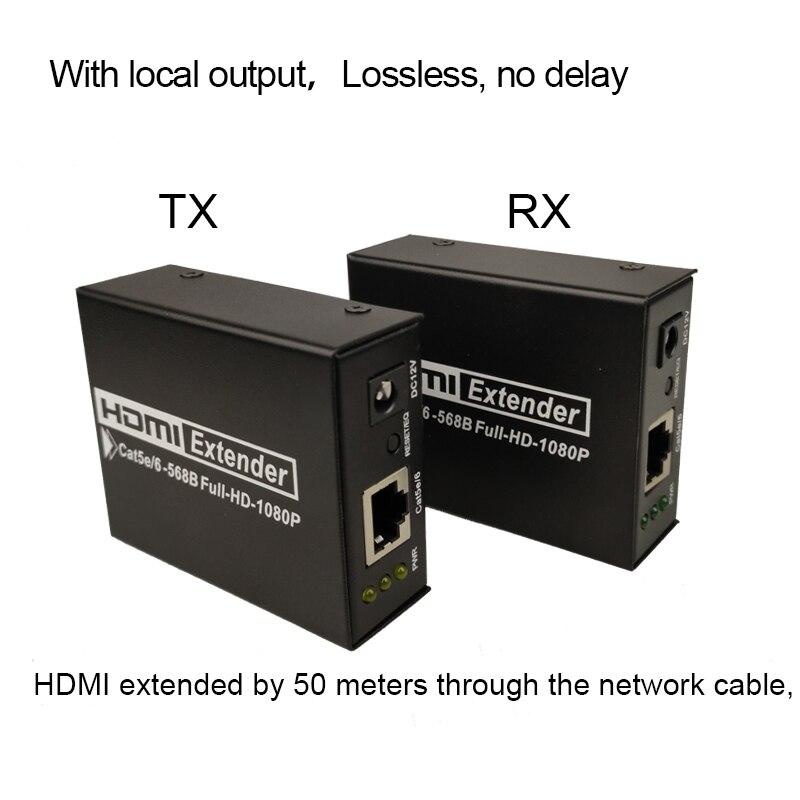 50 m HD1080P HDMI Extender récepteur 1x1 séparateur hdmi câble avec Cat6 UTP câble RJ45 extender pour projecteur avec boucle out