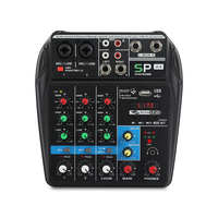 A4 4Channels Audio Mixer Sound Mixing Console with Bluetooth USB Record 48V Phantom Power Monitor Paths Plus Effects Use
