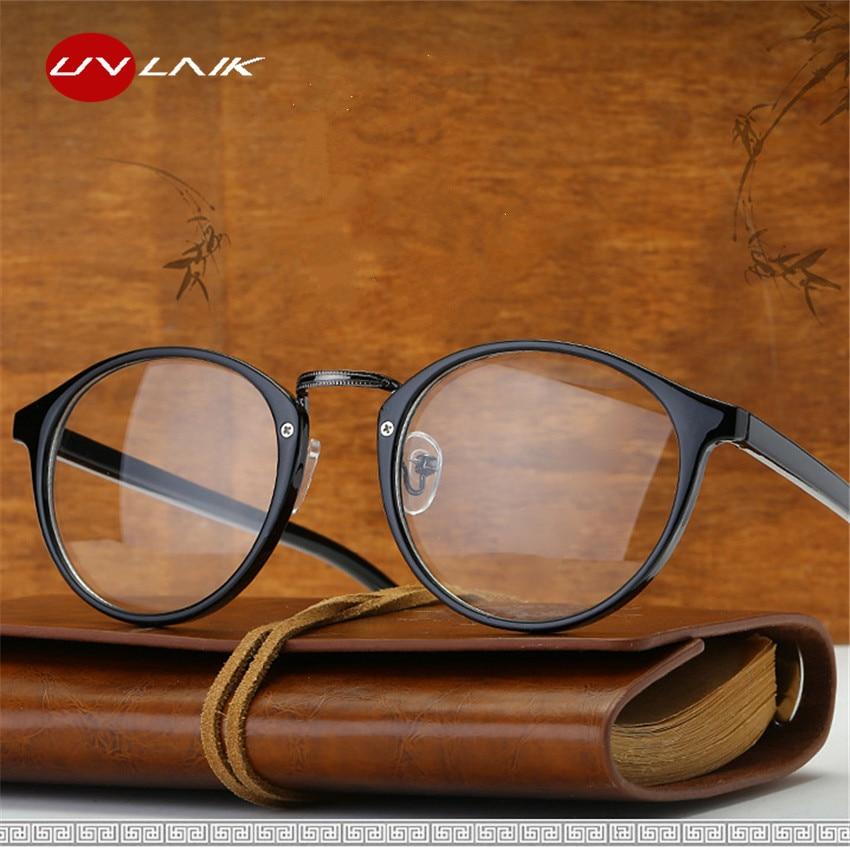 UVLAIK optiska glasögon Boston glasögon runda myopiramar Kvinnor tydliga genomskinliga glasögon kvinnors herrblomstramar