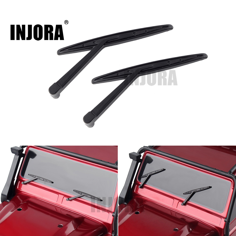 INJORA 2Pcs Black Plastic Wiper for 1/10 RC Crawler Car Traxxas TRX4 TRX-4 mxfans rc 1 10 2 2 crawler car inflatable tires black alloy beadlock pack of 4
