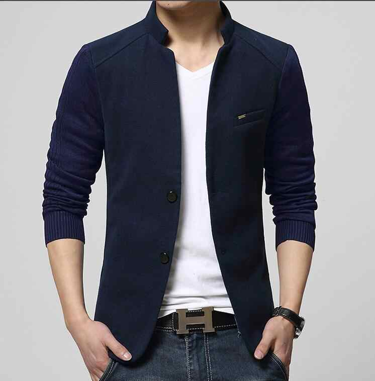 d92044a1196c5 ... New High Quality Casual Patchwork Blazer Men Slim Fit Stand Collar Mens  Jackets And Coats Brand ...