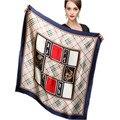 Venta caliente 100% mujeres fulares señora de nueva rejilla de la manera de seda pura bufanda de la impresión 90*90 cm; azul/marrón/rojo/crema