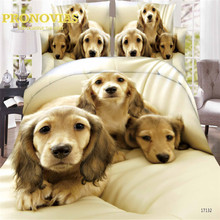 pronovias new 3d dogs print king/queen/single size 3/4pcs bedding set of duvet/doona cover bed sheet pillow cases bed linen set