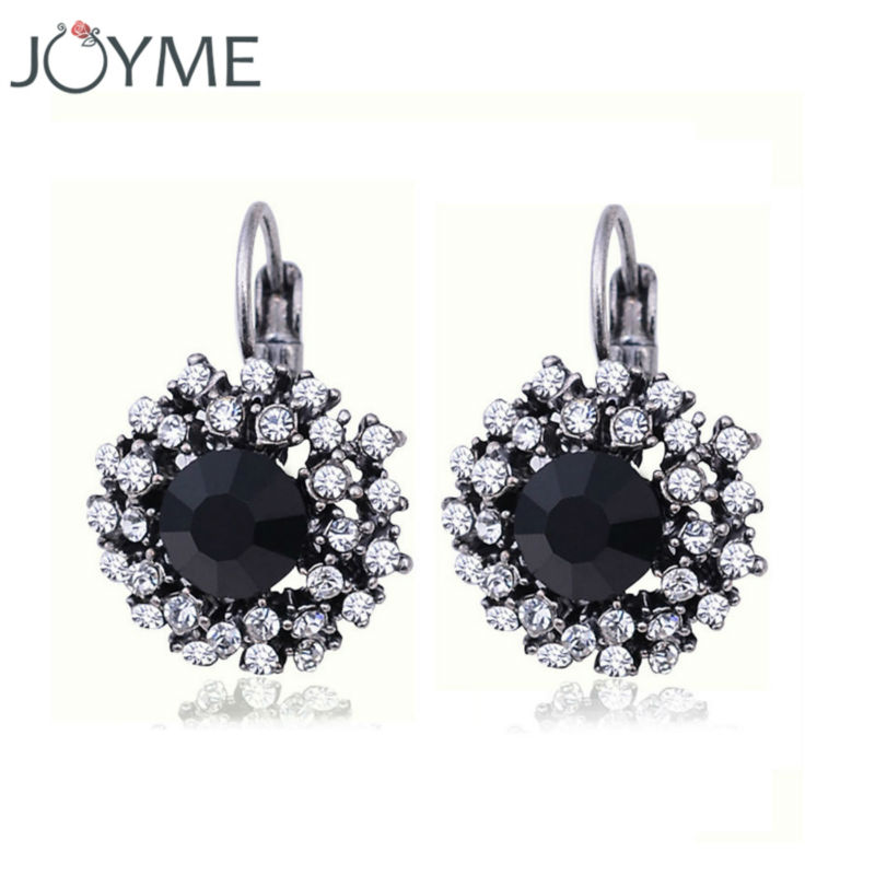 Vintage Crystal Rhinestone Clip On Earrings For Women