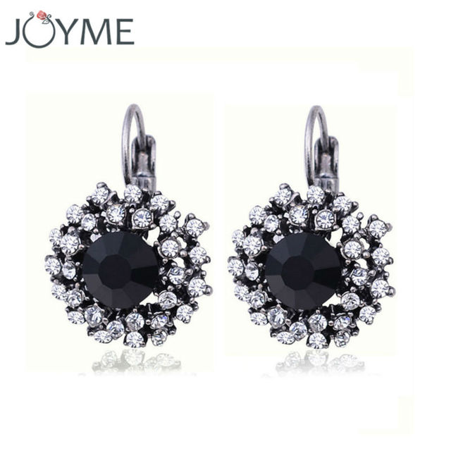Vintage Crystal Rhinestone Clip On Earrings For Women Fashion Accessories Silver Plated Multicolor Statement