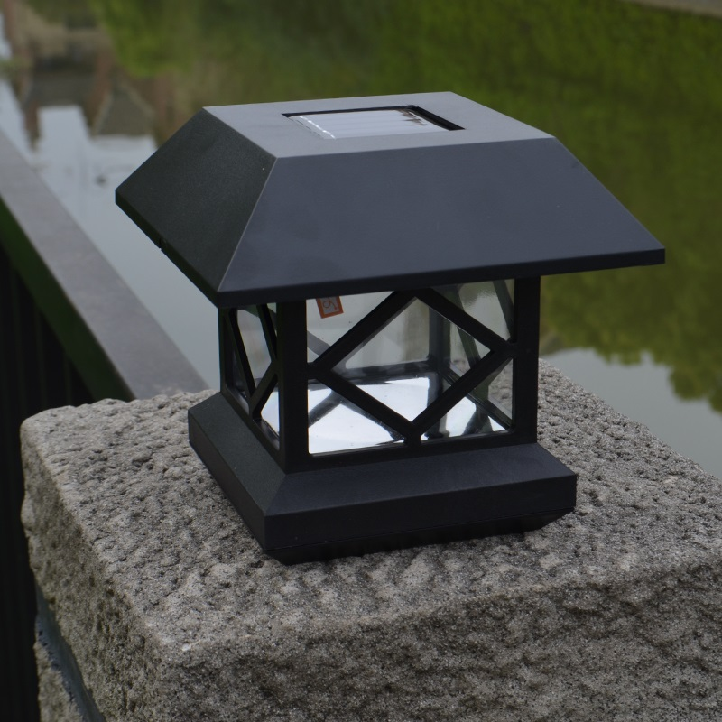 "4 Foot Outdoor Solar Powered Lamp Post With: Solar Powered 4"" Solar Post Cap Light Garden Light +2PC"