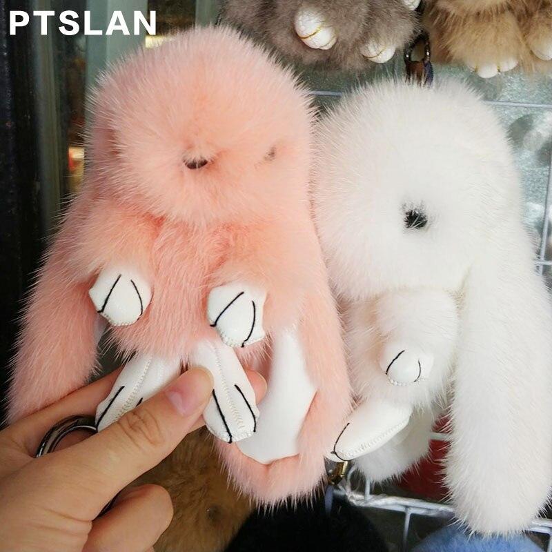 Pom Charmes Porte Main Fourrure Floue Pendentif Anime Vison Fluffy Lapin clés Réel Charme Animaux Bourse Sac Mignon De À fXO6xqn8w