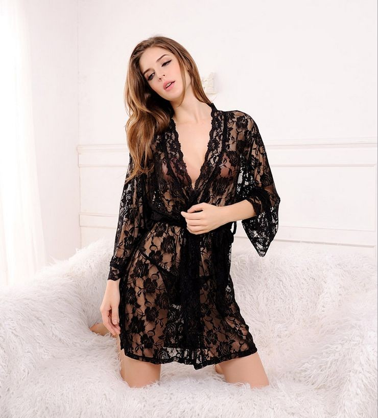Women\'s Above Knee Polyester Sleep Lounge Robes RBS-G RB3 1
