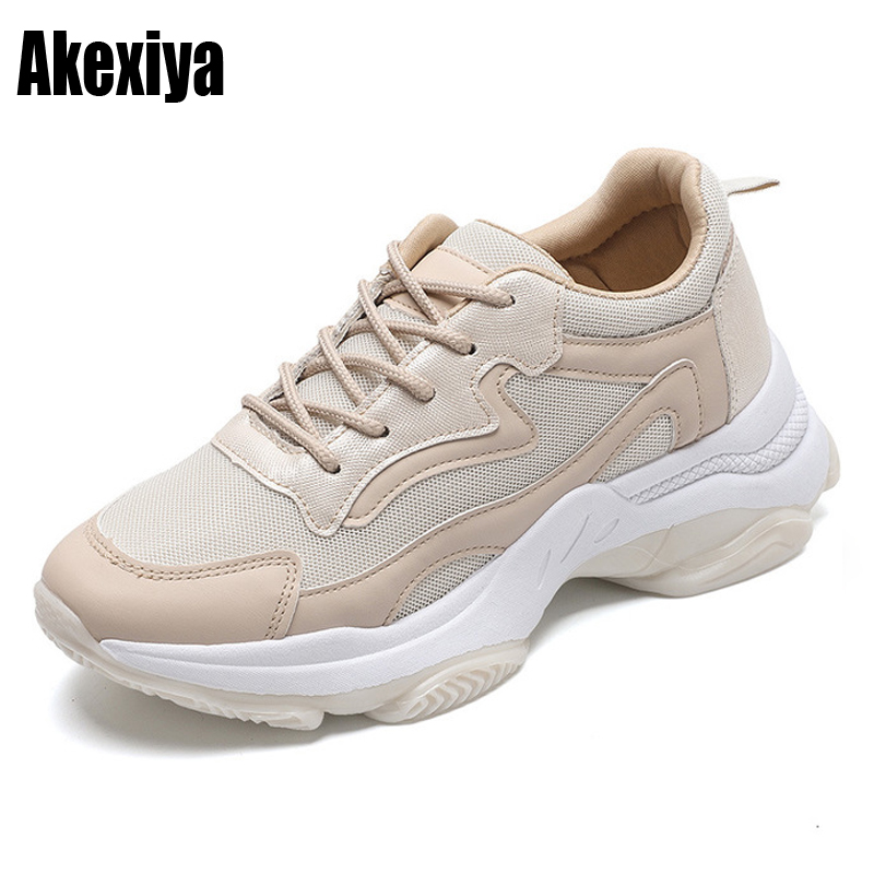 2019 Casual Shoes Women Breathable Vulcanized Shoes Light Platform Leisure Sneakers Chaussures Femme Tenis Feminino K031
