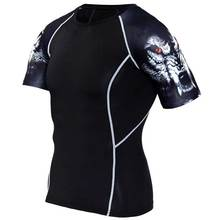 2017 Hombres Workout GYM Fitness Tops Camiseta para Correr Deporte Yoga tren Pro Secado rápido de Compresión Ejercicio Muslce Culturismo Camiseta S86