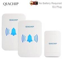 QIACHIP Self-powered Waterproof Wireless Doorbell No Battery LED Light 150M Home Cordless Bell EU Plug 1 Button 2 Receiver