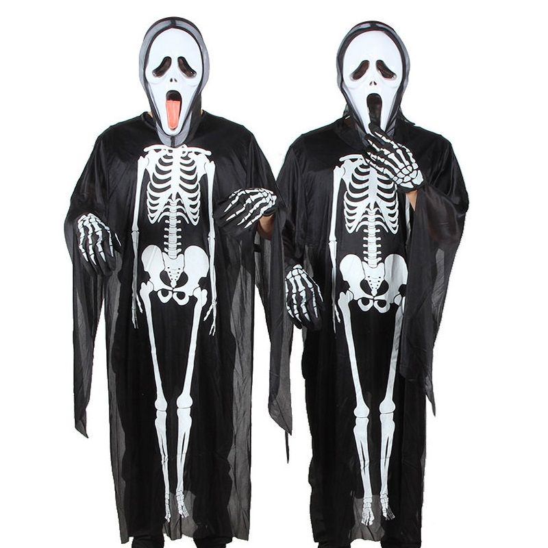Halloween Skull Skeleton Costume Demon Ghost Cosplay Costumes Adults Children Kids Carnival Masquerade Dress Robes Scary Mask