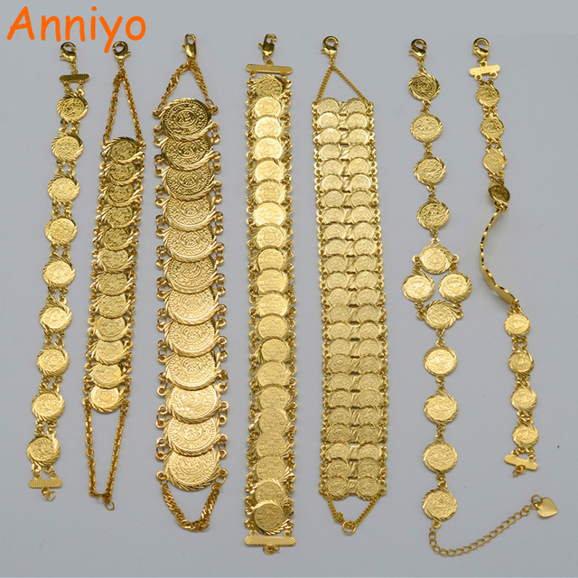Anniyo Gold Color Money Coin Bracelet Ic Muslim Arab Coins For Women Men Middle Eastern