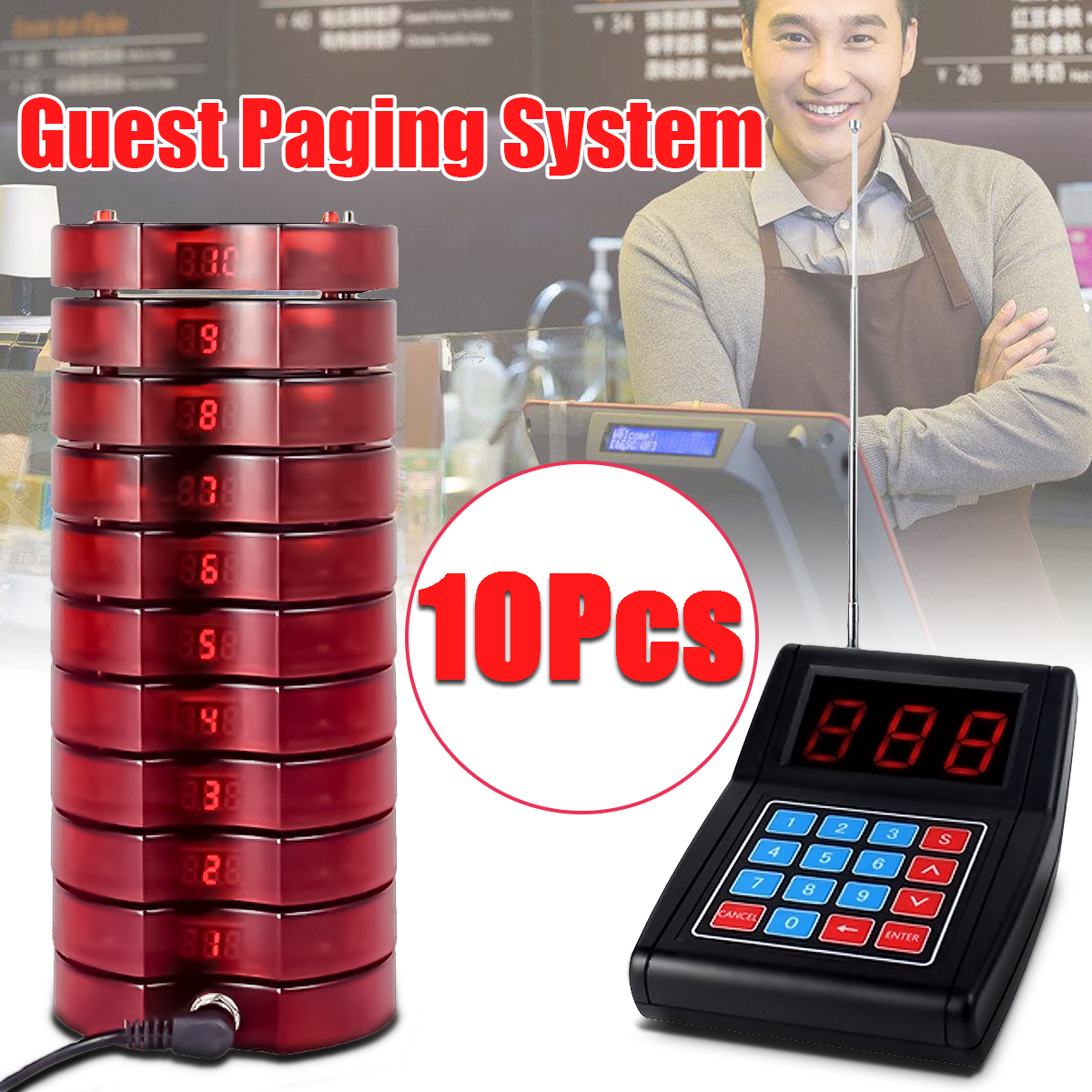 999 Channel Restaurant Pager Wireless Paging Queuing Calling System Transmitter with 10 Coaster Pagers Restaurant Equipments tivdio wireless restaurant pager guest paging queuing system 1 transmitter 20 chargeable pagers restaurants equipments f9401a