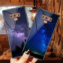 For Samsung Galaxy Note 9 Case Tempered Glass Space Moon Planet Stars 6.4 inch