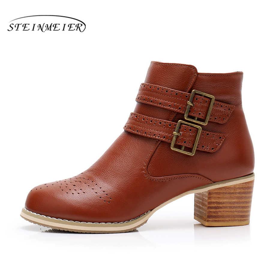 Hakiki inek Deri Ayak Bileği kadın kış Botları Rahat kaliteli yumuşak ayakkabı Marka Tasarımcısı El Yapımı kış çizmeler kahverengi kürk