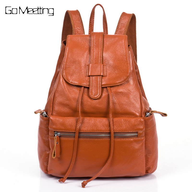 Fashion Genuine Leather Women Backpacks High quality Leather Girls School Shoulder Bag Bagpack mochila Female Travel Backpack все цены
