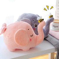 Creative cartoon pillow Stuffed big flappy ears Grey elephant with bees on nose toy plush fleece blanket inside baby cushion