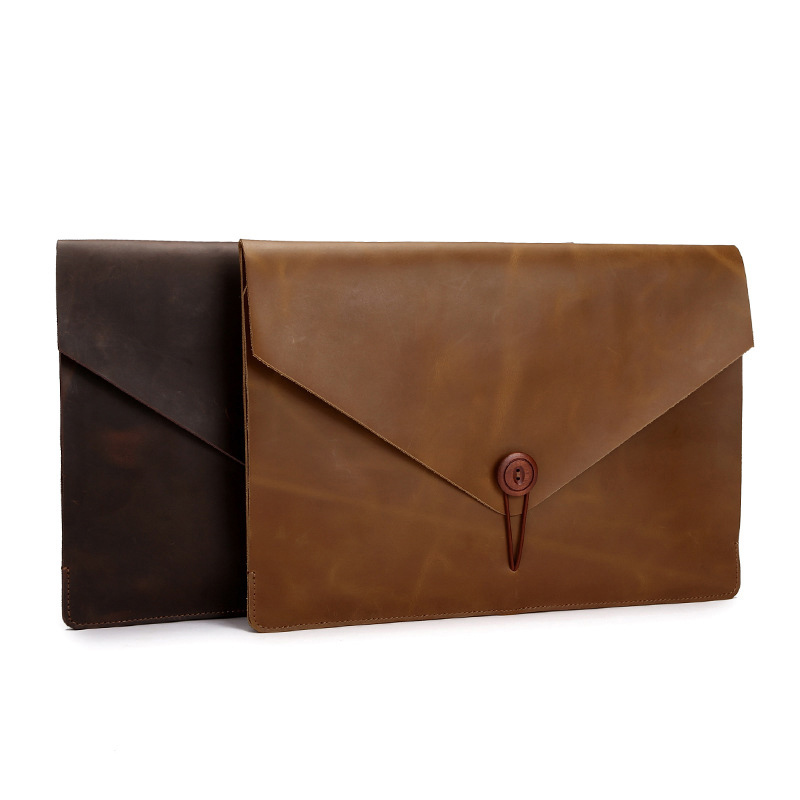 Cow Genuine Leather Folder For Documents A4 Document Organizer With Button Office Business File Folder Envelope Storage Bag