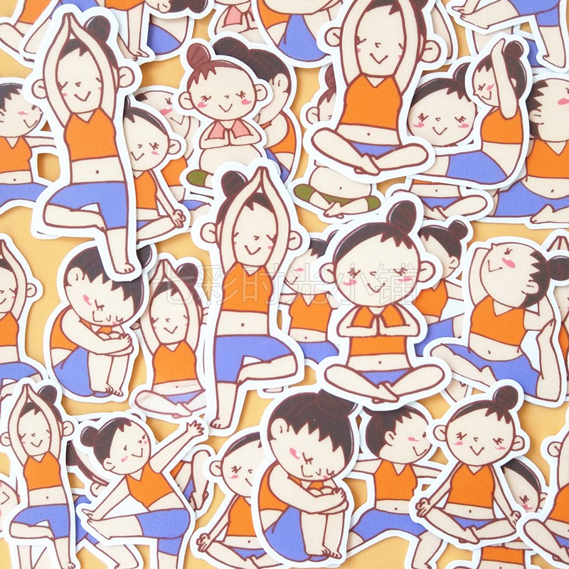 38 Pcs Cute And Unique Hand Account Sticker Hand Book Homemade Stickers Package Yoga Fitness Children's Birthday Gift