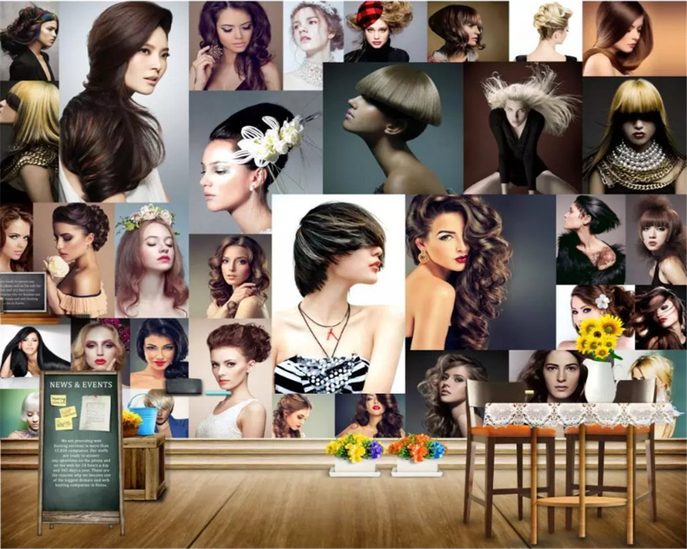 beibehang Custom size Modern interior decoration three-dimensional fashion hairdressing background papel de parede 3d wallpaper