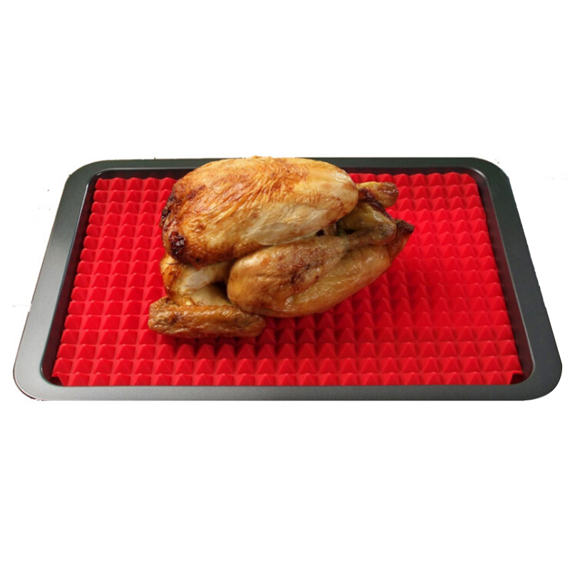 Silicone Baking BBQ Pastry Mat Tools Kitchen Utensils Household Pyramid Pan Fat Reducing Textured Non Stick Pizza Cooking Mats