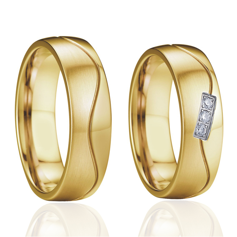 Handmade Wedding Band Couple Rings Pair gold color Anniversary