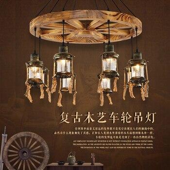 Rueda de madera Retro colgante de luz dormitorio colgante luz para iluminación del hogar moderno lámpara colgante LED de iluminación para la sala de E27