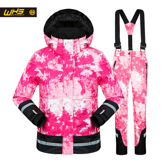 WHS 2017 New girls snow suits kid ski jacket teenage windproof coat girl skiing jacket in Winter 4 to 16 year jacket
