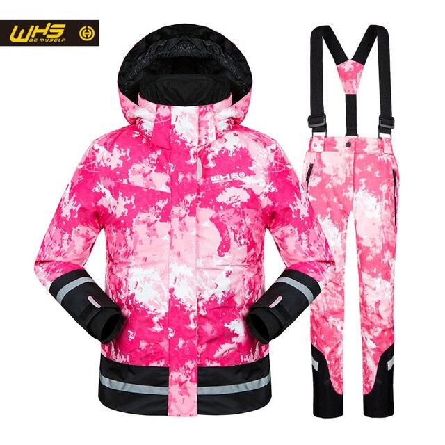 WHS Новинка 2017 года для девочек зимние костюмы детская Лыжная куртка подростков ветрозащитный пальто девочка на лыжах зимняя куртка 4 до 16 лет куртка горнолыйный комплект