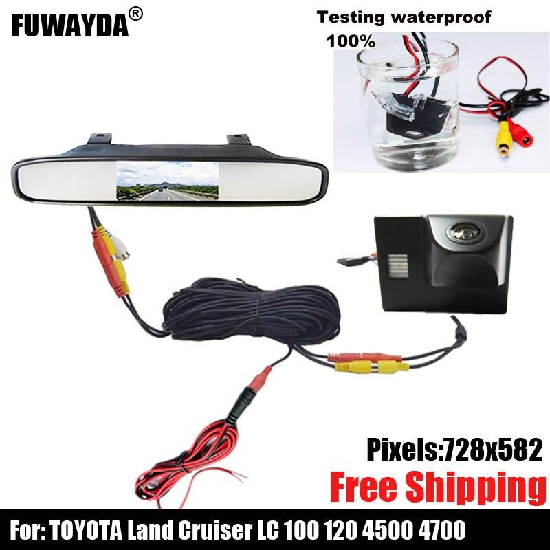 Caméra de vue arrière de voiture couleur CCD pour TOYOTA Land Cruiser LC 100 120 4500 4700, avec moniteur de rétroviseur de 4.3 pouces