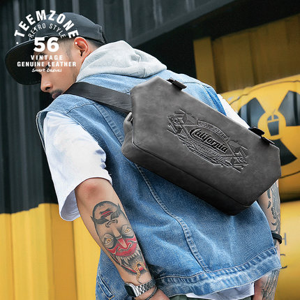 High Quality Fashion Multi-function Men Chest Bag Pack Real Leather Shoulder Bag Male Sling Bag Gray Hip-hop leisure Bag J40 men s cowboy jeans fashion blue jeans pant men plus sizes regular slim fit denim jean pants male high quality brand jeans