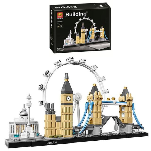 10678 архитектурный Строительный набор Лондон 21034 Биг Бен Тауэр мост Модель Строительный блок кирпичи игрушки