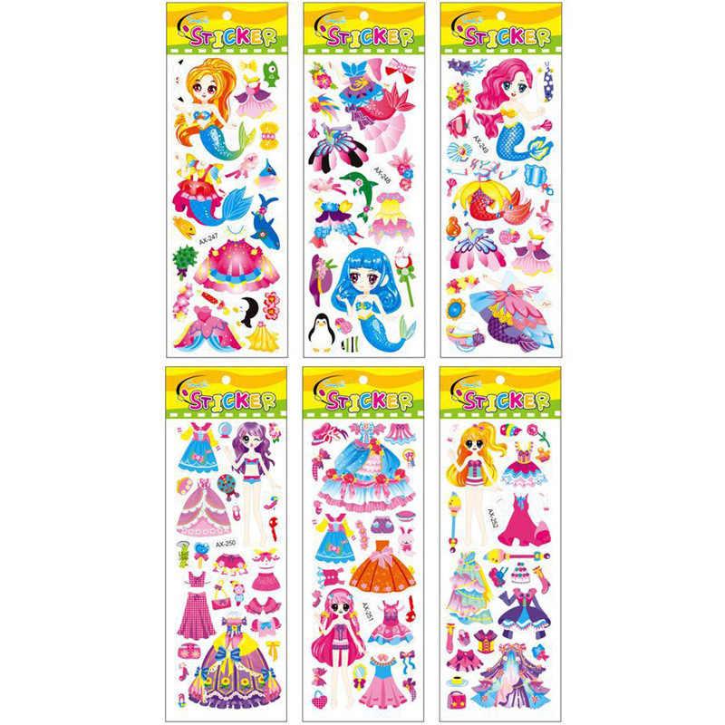 3 hojas/juego 3D burbujas hinchadas pegatinas dibujos animados princesa gato caballo DIY bebé pegatina estacionaria niños niño niña B012