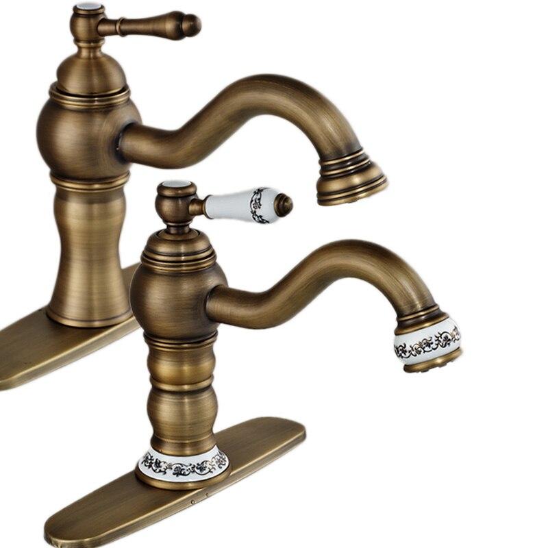 Brass Antique Bathroom Mixer Crane Tap Single Handle Long Spout Washing Basin Mixer Tap 8 Hole