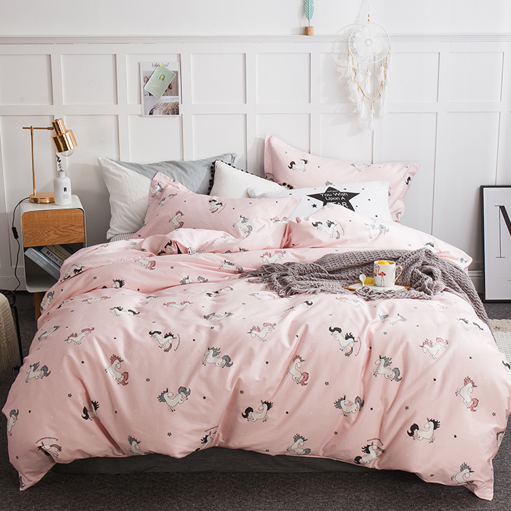 Papa Mima unicorn print Cotton children bedding set Queen King size flat sheet pillowcases duvet cover sets Dropshipping in Bedding Sets from Home Garden