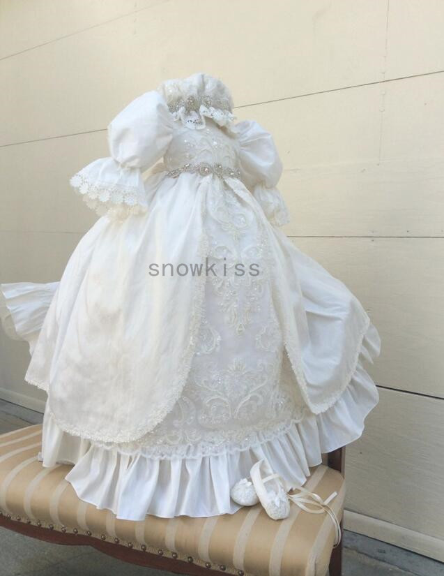 2016 Hot sale Long sleeves Lolita Christening Gown with Crystals Belt Baby Girl Baptism Dresses Lace Applique With bonnet hot sale hot sale car seat belts certificate of design patent seat belt for pregnant women care belly belt drive maternity saf