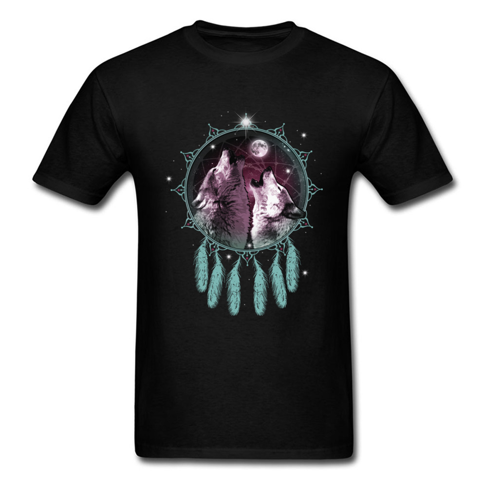 Guardians Of The Moon 2018 Cool Men T-shirt Two Howling Wolf In Dream Catcher Adult T Shirt Fashion Black Tops Plus Size