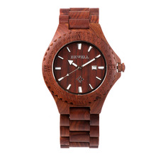 BEWELL Luxury Red Wood Watch Men Top Brand Watch Male Chronograph Waterproof Watch Analog Display Dropshipping Quartz Watch 023A