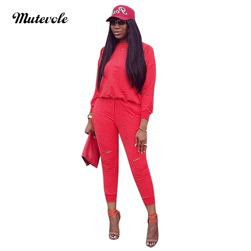 Mutevole <font><b>Women</b></font> Casual <font><b>2</b></font> <font><b>Piece</b></font> <font><b>Pants</b></font> Sets Tracksuit Long Sleeve Top and Hole Pencil Trousers Two <font><b>Piece</b></font> <font><b>Outfits</b></font> <font><b>Sexy</b></font> Pullover Set image