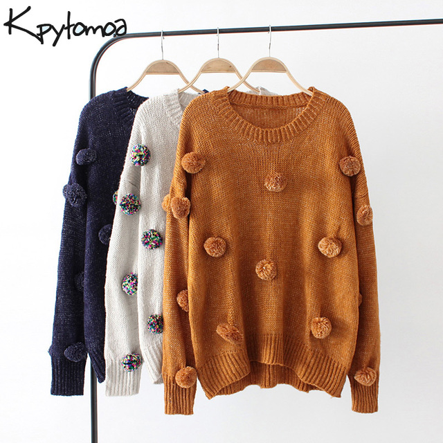 KPYTOMOA Vintage Chic Pompoms Detail knitted Sweater Women 2018 O Neck Long  Sleeve 6d0456b14a4a