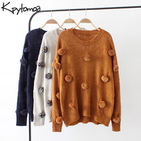 Vintage Chic Pompoms Detail knitted Sweater Women 2018 Fashion O Neck Long Sleeve Loose Ladies Pullovers Casual Pull F