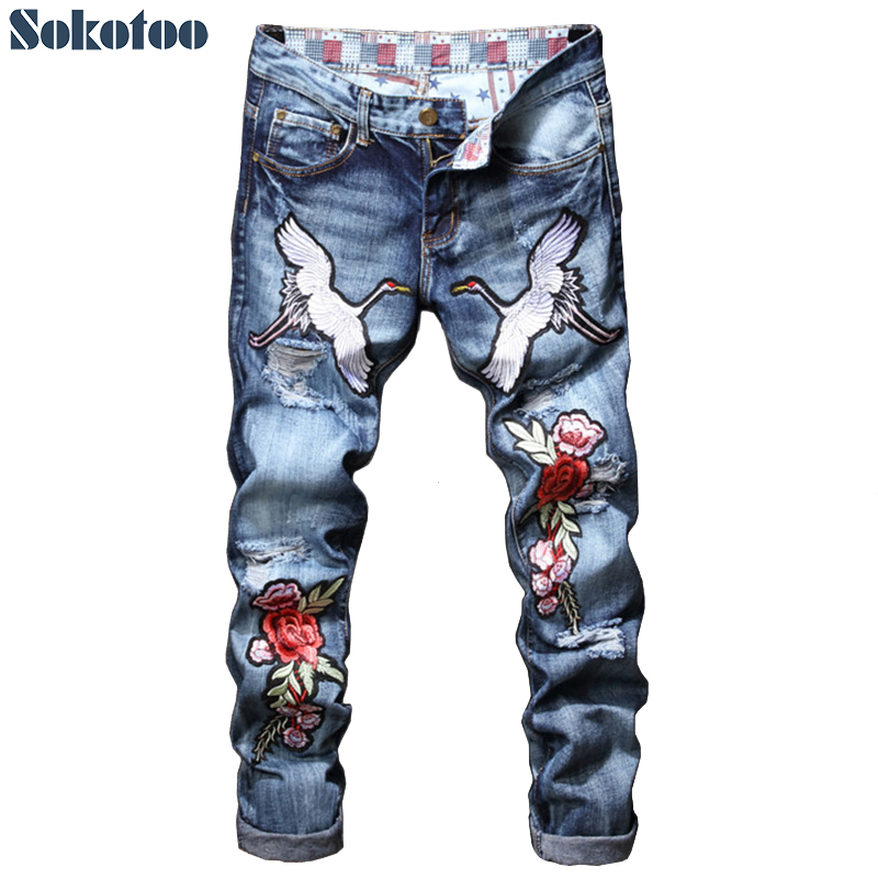 Sokotoo Men's crane flower rose embroidered denim jeans Trendy holes ripped torn pants with embroidery