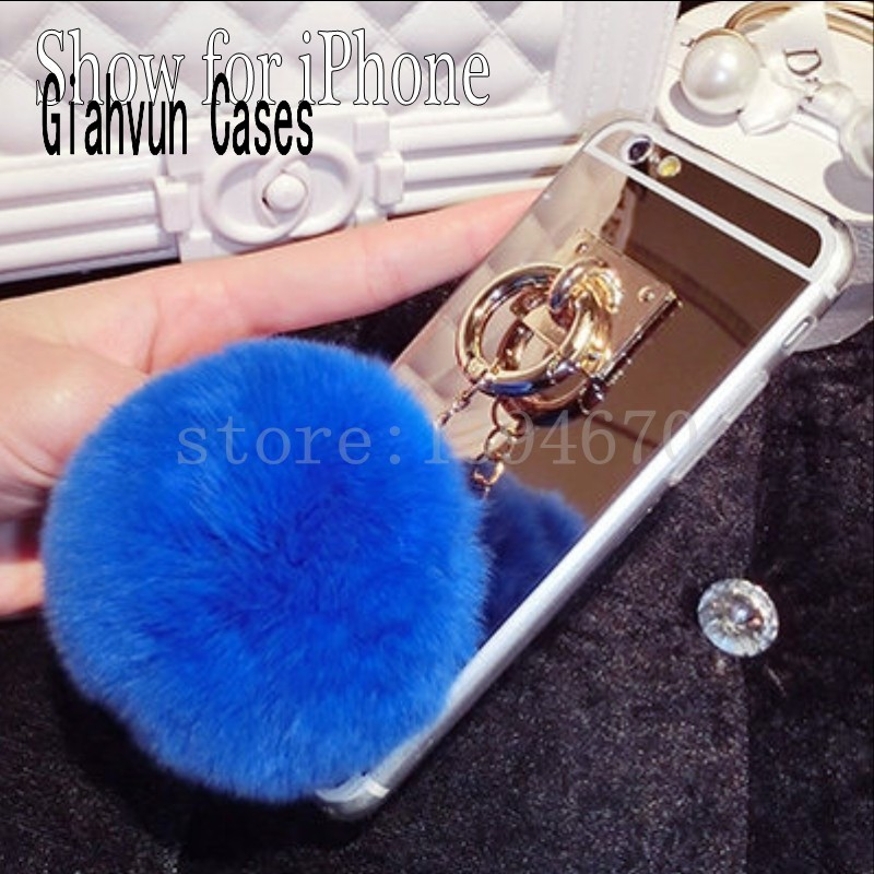 Metal Rope Mirror Back Cover Capa fake rabbit fur ball pompom For iPhone 6 6S 4 5 5S X SE 7 8 S plus 6plus 7P phone Case shell