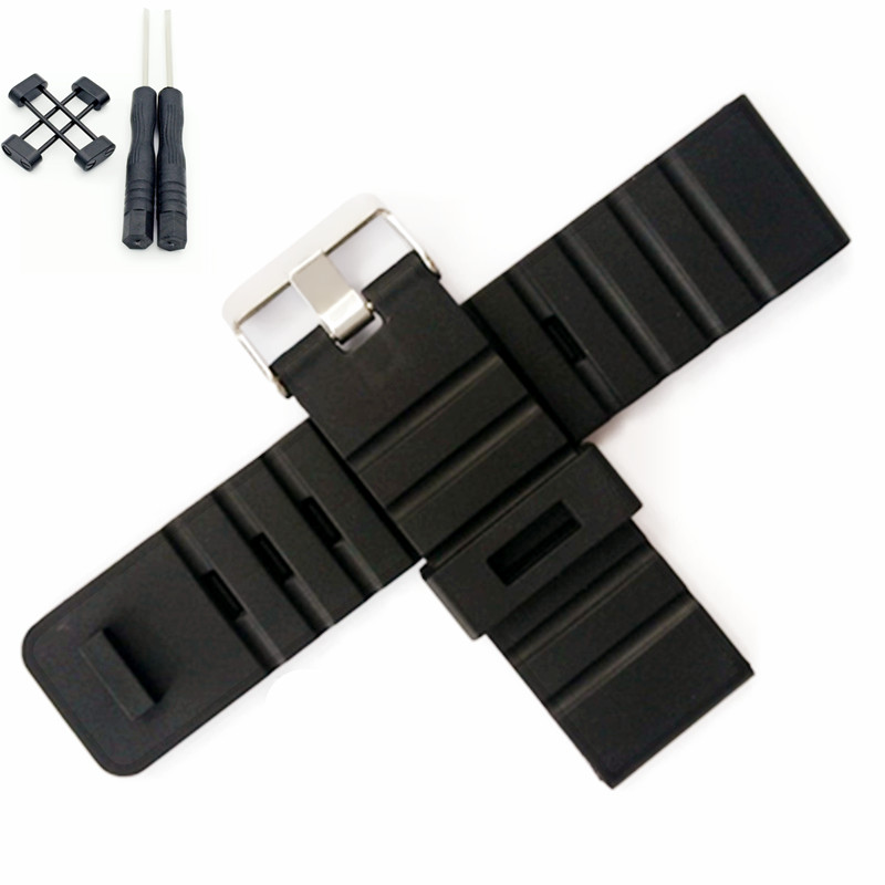 For Suunto Core 24mm Black Silicone Rubber Strap Watch Band With Watches Buckle Belt + Adapters + Tools